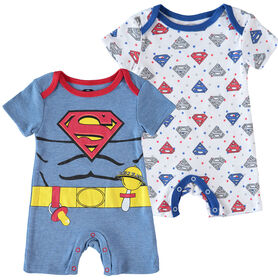 Superman Infant Future Superhero 2 Pack Rompers 6-9M Blue