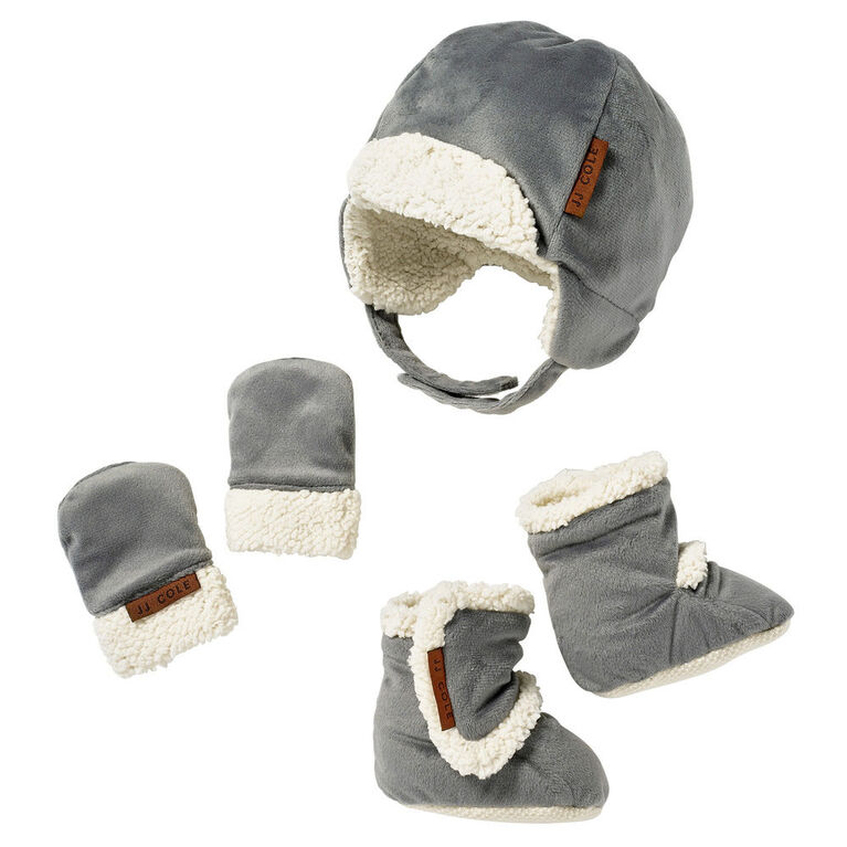 JJ Cole Baby Bomber Hat Set - 0 to 6 Months - Grey