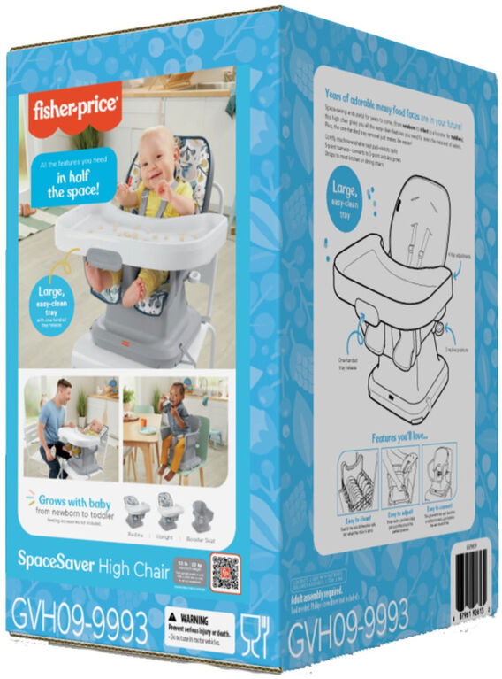 Fisher-Price SpaceSaver High Chair - Navy Foliage - R Exclusive