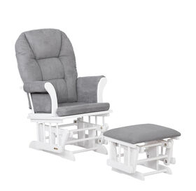 Lennox Furniture Quinn White Glider & Ottoman Gray