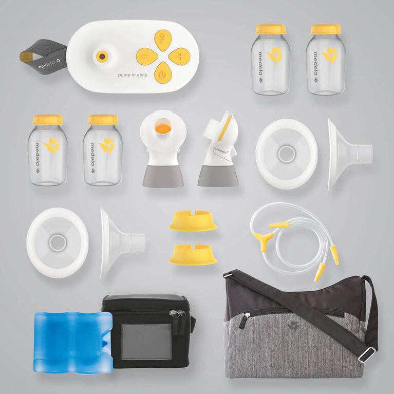Medela Pump In Style avec technologie MaxFlow , Tire-lait portatif électrique double silencieux à système fermé, avec Téterelles PersonalFit Flex