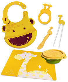Marcus & Marcus Baby Bib & Collapsible Bowl & Feeding Spoon & Chopsticks & Teether & Placemat - Giraffe.