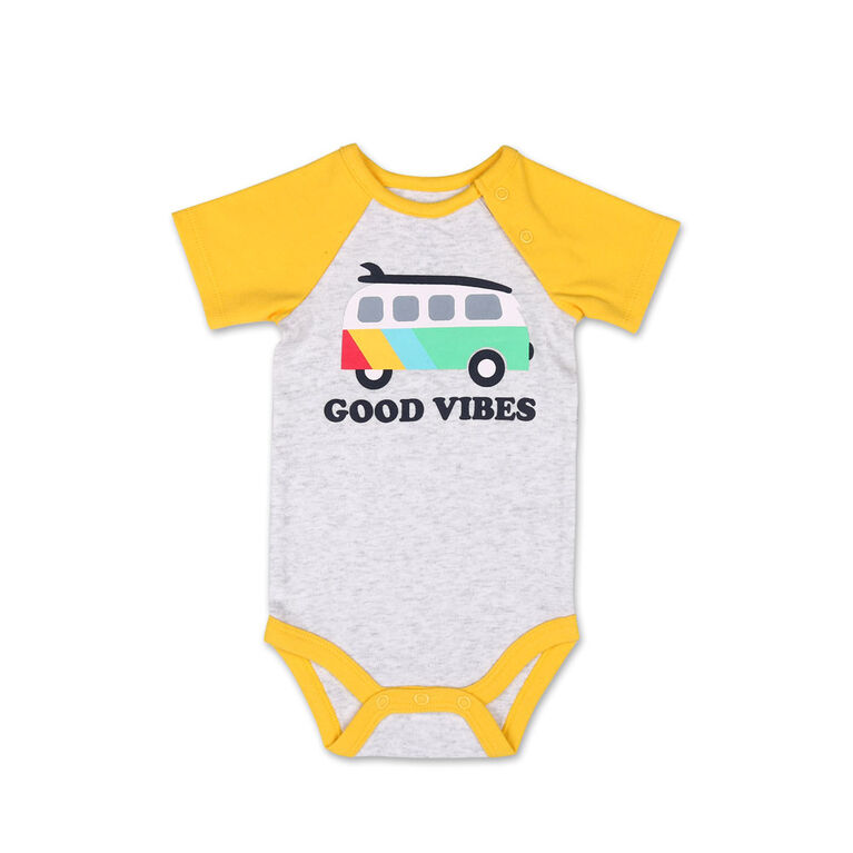 Koala Baby Short Sleeved Good Vibest Raglan Sleeve Bodysuit - 6-12 Months