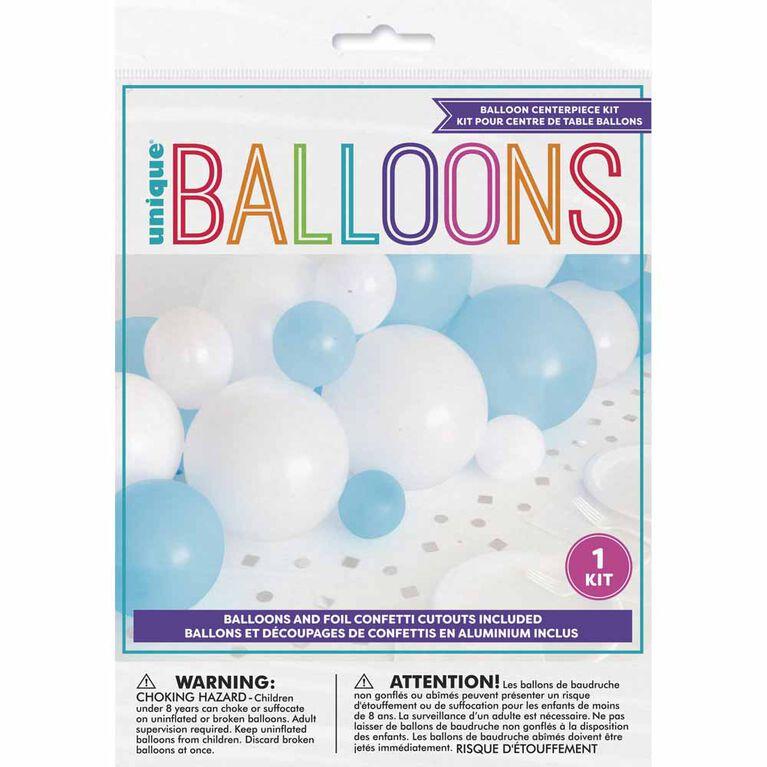 Chemin De Table Guirlande De Ballons Bleu Blanc Et Argent Avec Découpes De Confettis En Aluminium