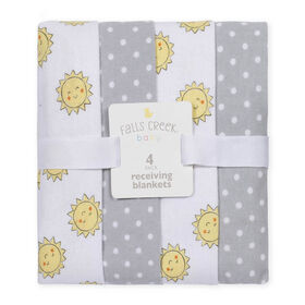 Fall's Creek  4Pk Receiving Blankets - Sun & Dots - English Edition