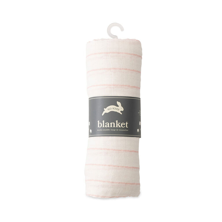 Red Rover - Cotton Muslin Swaddle Single - Pink Stripe - R Exclusive