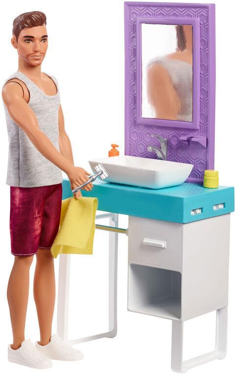Barbie Shaving Ken Doll and Bathroom Playset