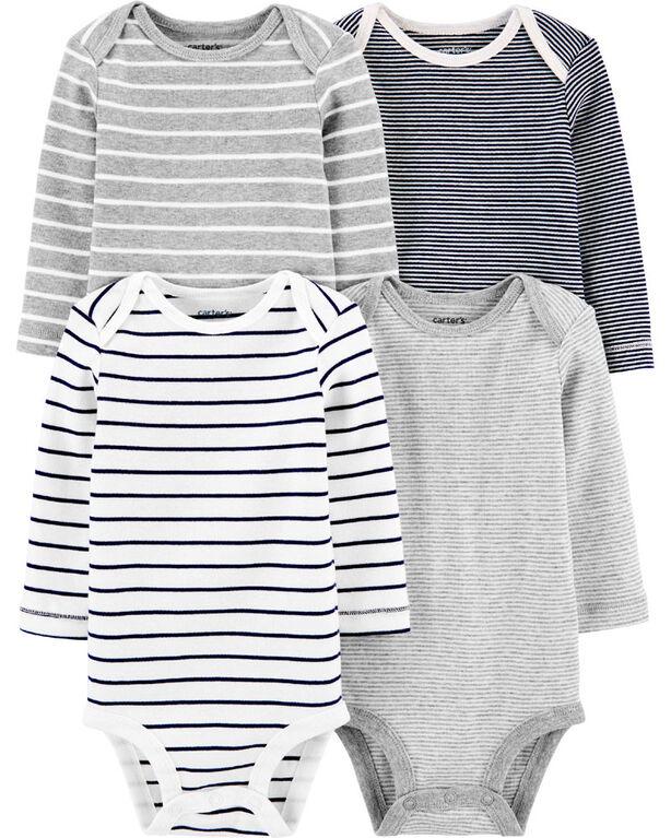 Carter's 4-Pack Striped Original Bodysuits Multi-Color - 24 Months