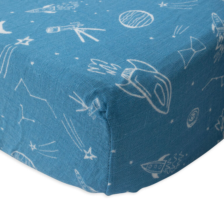 Drap de lit en Mousseline de Coton Red Rover - Star Gaze - Notre exclusivité