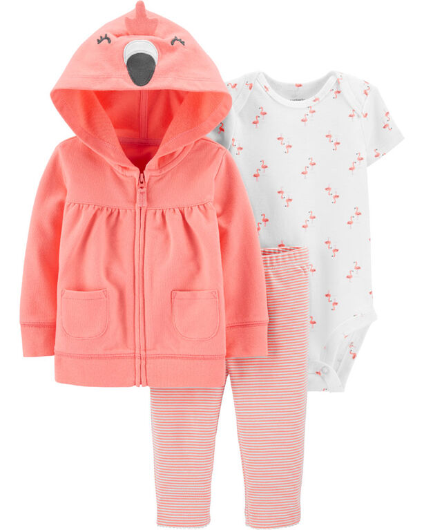 Carter's 3-Piece Flamingo Cardigan Set - Coral, 18 Months