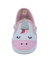 First Steps White Canvas Unicorn Girls Sneaker Size 1, 0-3 months - English Edition