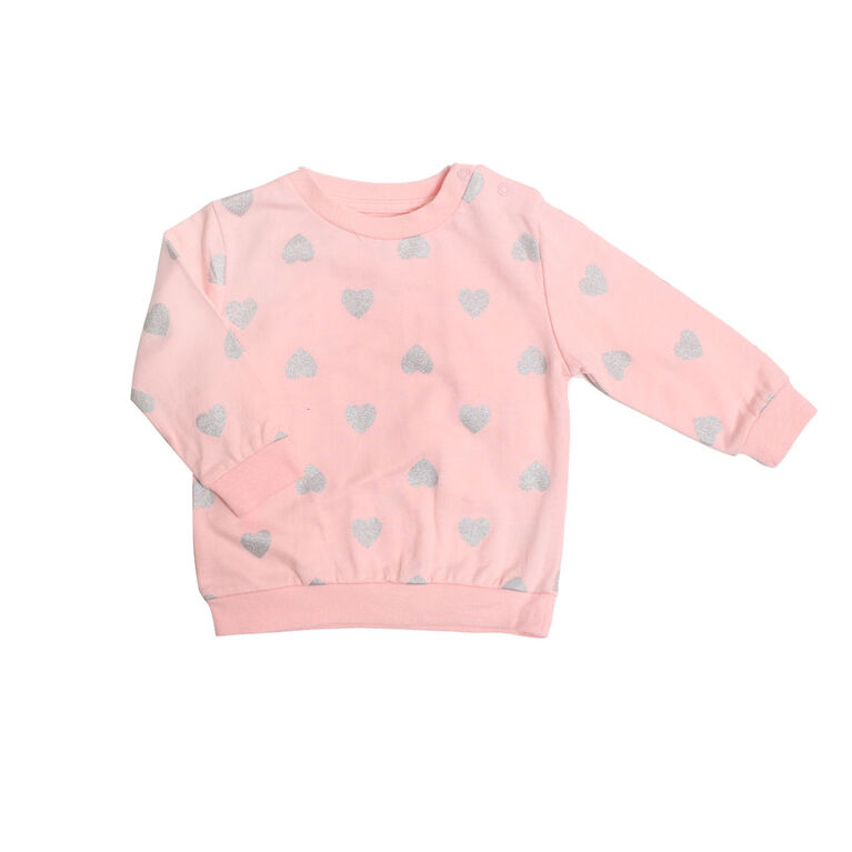Koala Baby Girls Cotton French Terry Sweatshirt Pink with Foil Hearts 12-18M