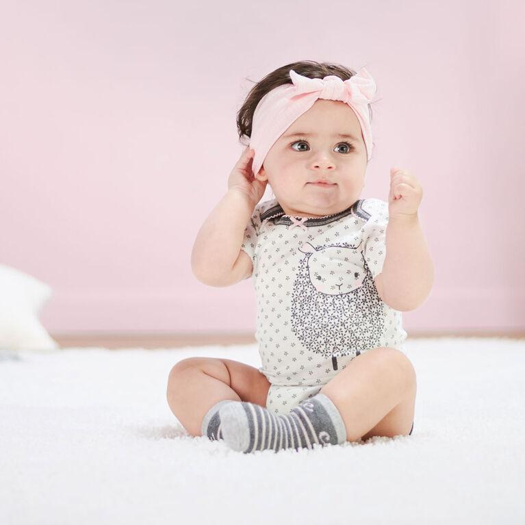 Just Born Baby Girls' 4-Pack Organic Short Sleeve Onesies Bodysuits - Lil' Lamb 12 months