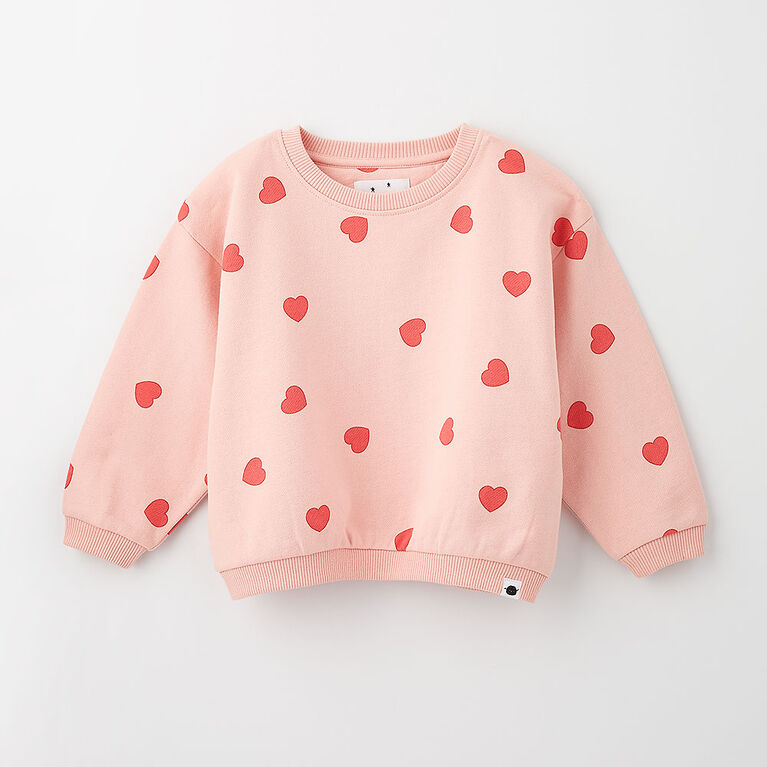 sweet slouchy sweatshirt , 12-18m - light pink print