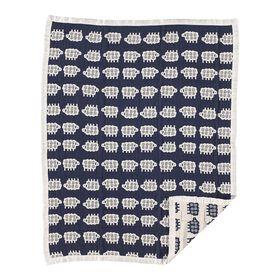 Living Textiles Baby - Muslin Jacquard Blanket - Navy Sheep