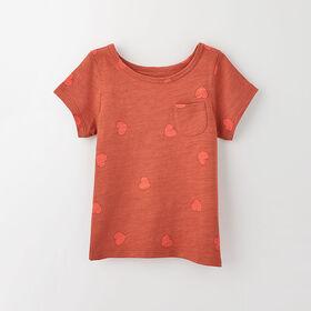 simple roll-sleeve pocket tee, 12-18m - rust print