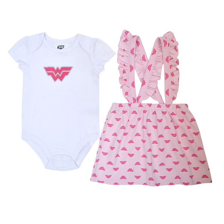 Warners Wonderwoman ensemble Cache Couches et Barboteuse - Rose, 12 Mois