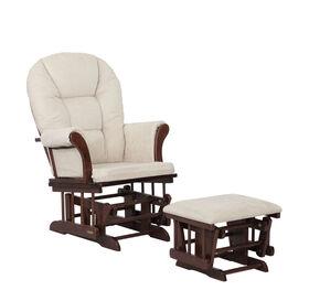 Lennox Furniture Quinn planeur à espresso et pouf - Beige perlé