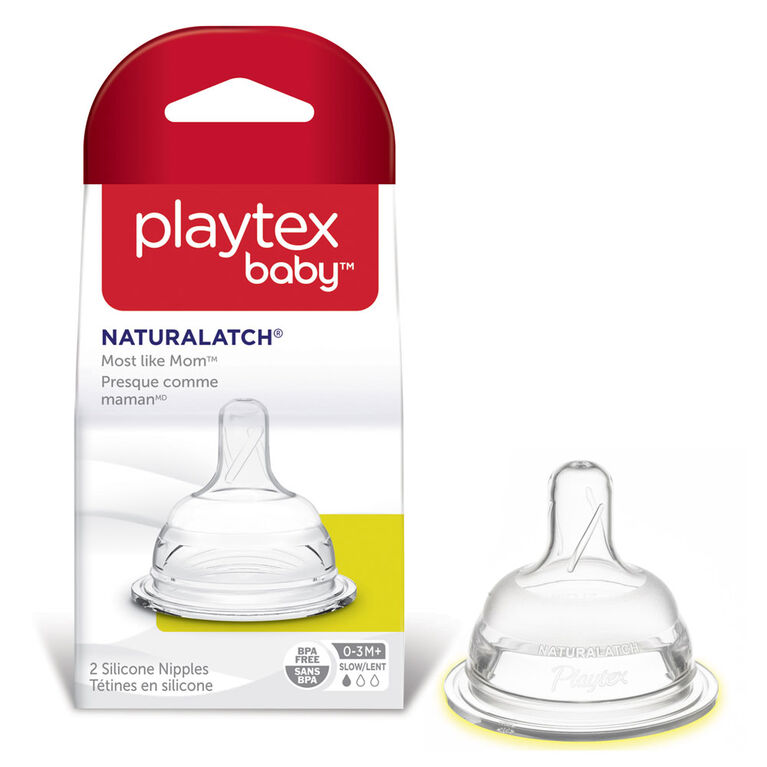 Playtex - NaturaLatch Silicone Nipples Medium Flow, 2-Pack