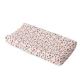 Red Rover - Cotton Muslin Changing Pad Cover - Cherries - R Exclusive