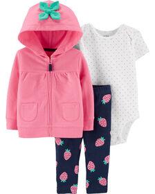 Carter's 3-Piece Strawberry Cardigan Set - Pink, 3 Months
