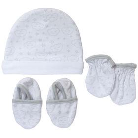 Koala Baby bonnet, mitaines et chaussons Gris, 0-3 mois