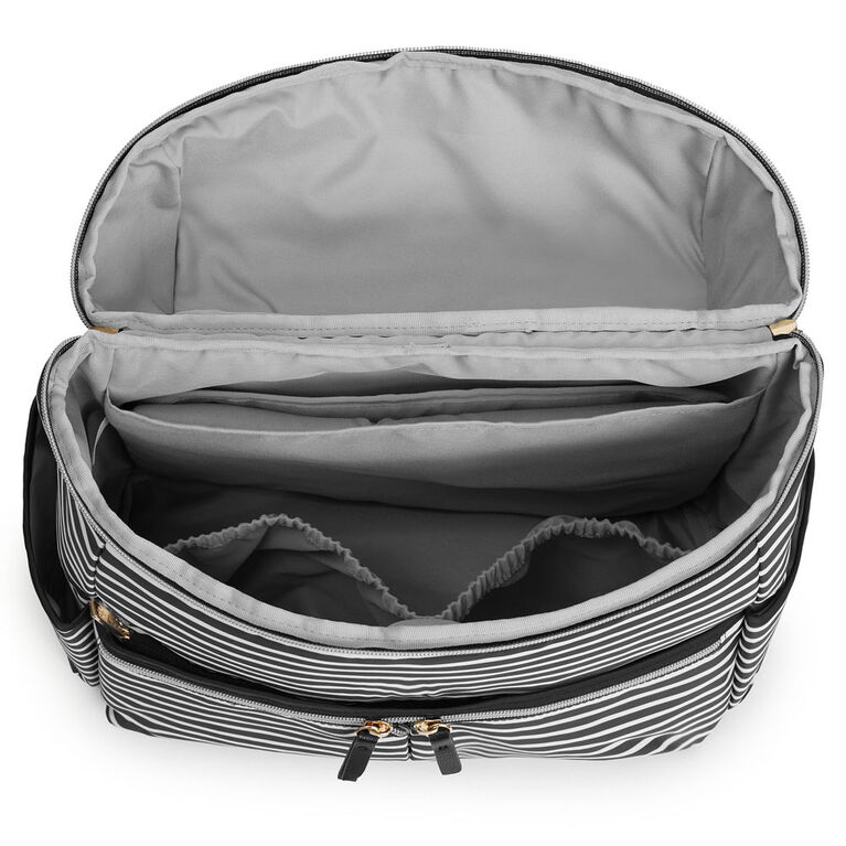 SKIP HOP Flatiron Backpack- Black & White Stripe