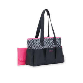 Baby Boom 7-Pocket Tote Diaper Bag - Black with Pink Trim