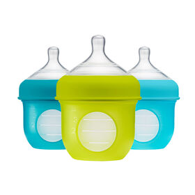 Boon Nursh Silicone Pouch Bottle 4 oz 3-Pack - Blue and Green
