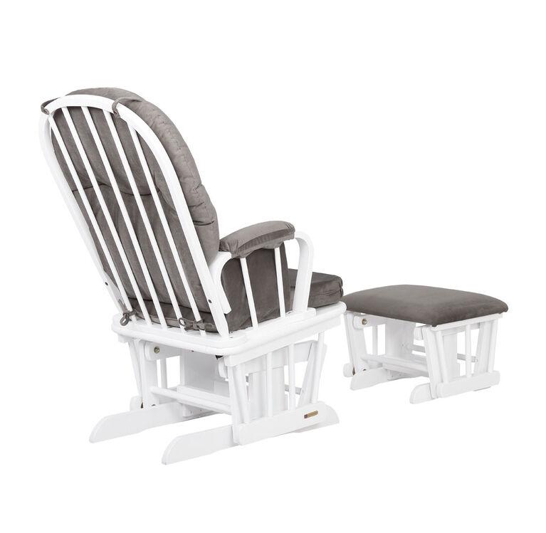Lennox Furniture Avery White Glider & Ottoman - Dark Gray