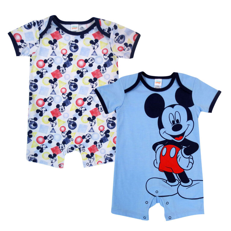 Disney Mickey Mouse 2 Pack Romper - Blue, 6 Months