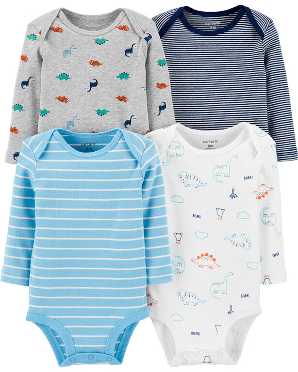 Carter's 4-Pack Dinosaur Original Bodysuits - Blue/Grey/Ivory, 6 Months