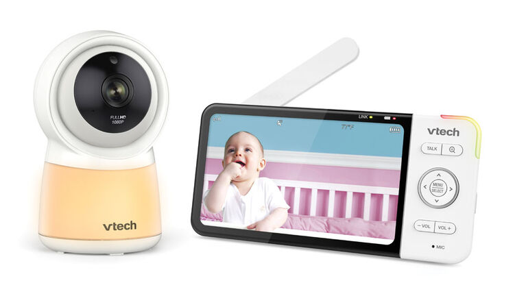 "VTech RM5754HD Smart Wi-Fi Video Baby Monitor with 5"" display and 1080p HD Camera, Built-in night light & 1 Camera, White - R Exclusive"