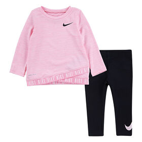 Nike DF Crossover Legging Set- Black With Pink, Size 12 Months
