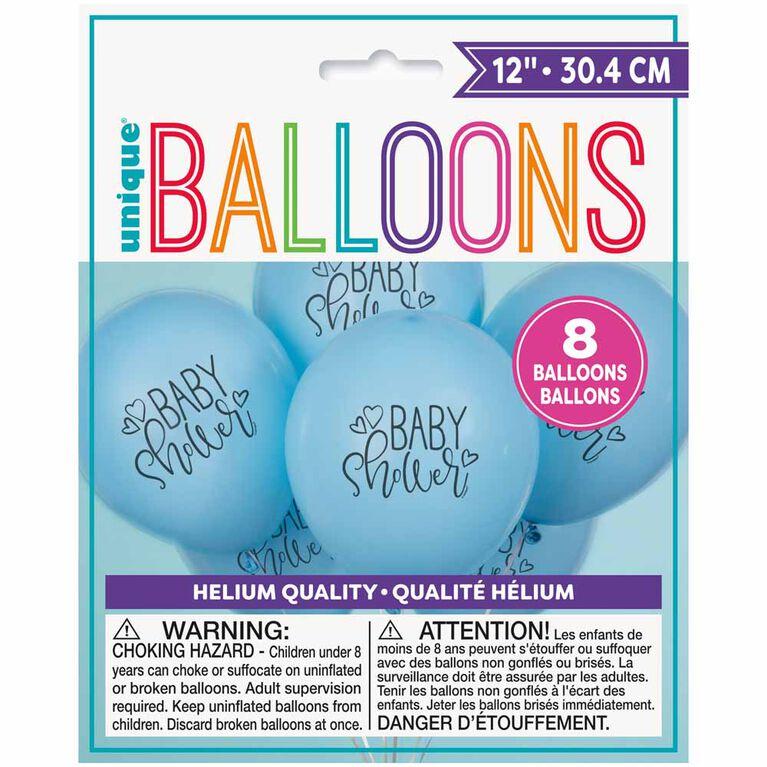"8 Balloons 12 Po - bleu ""Baby Shower"" - Édition anglaise"