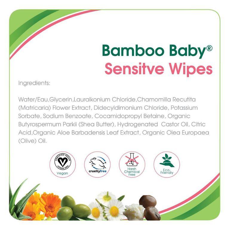 Lingettes Sensitive Aleva Bamboo - 72ct.