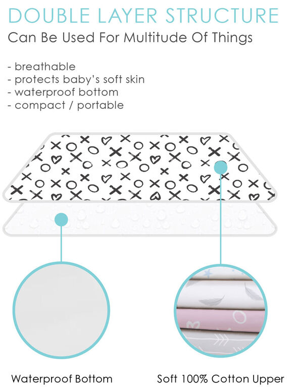 Kushies Portable Changing Pad Liner Flannel Grey Petals