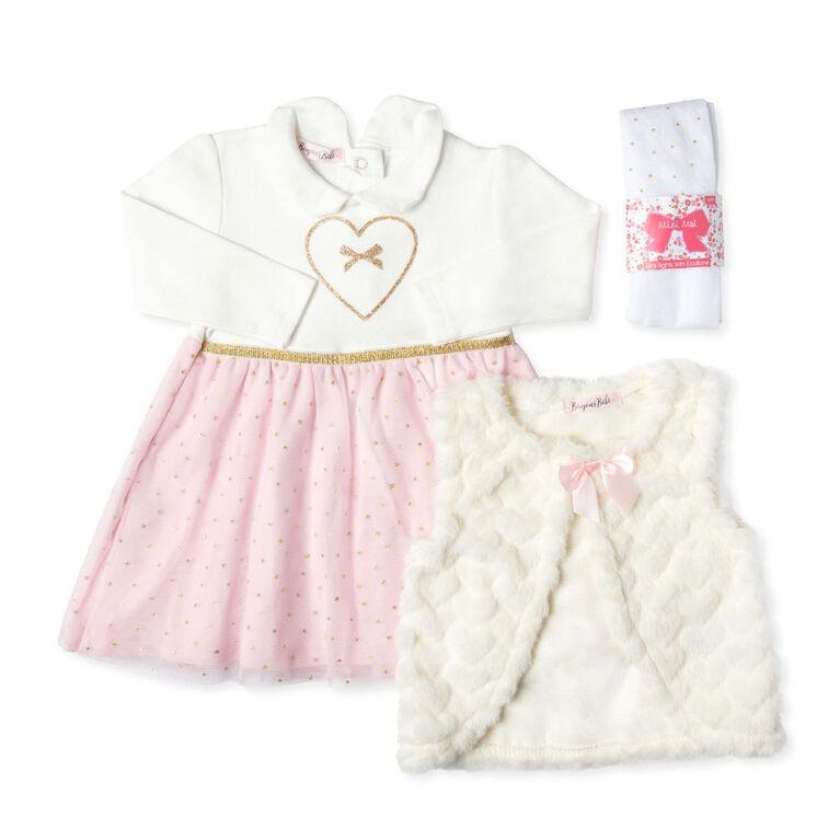 Bonjour Bebe - Girls 3 Piece Dress Set : Heart - 6-12 Months