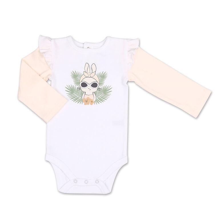 Koala Baby Tropical Girl Bunny Bodysuit/Floral Jogger 2 Piece Set, 3-6 Months