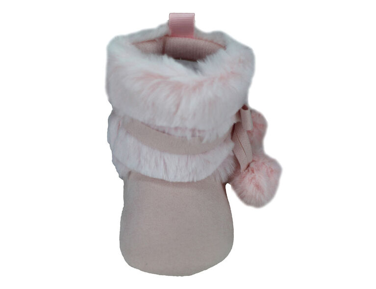First Steps Blush Pink with Ombre Faux Fur Girls Booties Size 1, 0-3 months