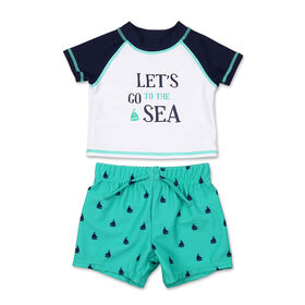 Koala Baby 2Pc Short Sleeve Let's Go To The Sea Rash Guard With Trunk, 3-6 Months