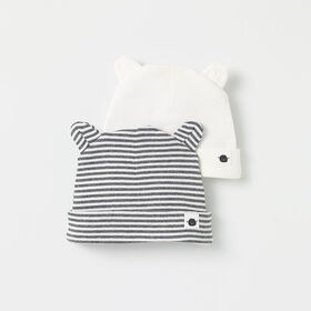 0-3m bonnet ourson - rayé