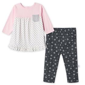 Lot de deux pièces: pantalon et chemise biologiques pour nouveau-né fille – Petit Agneau nouveau-né