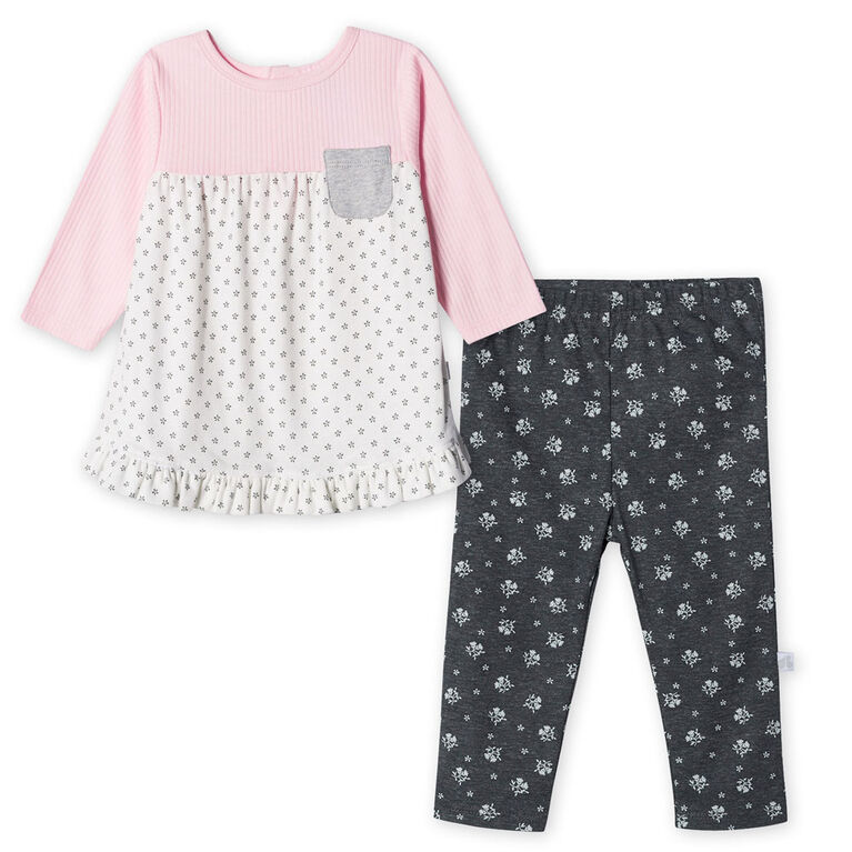 Just Born Baby Girls' 2-Piece Organic Tunic and Pant Set - Lil' Lamb newborn