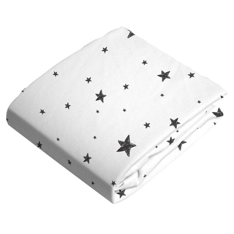 Kushies Bassinet Sheet Flannel Black & White Scribble Stars