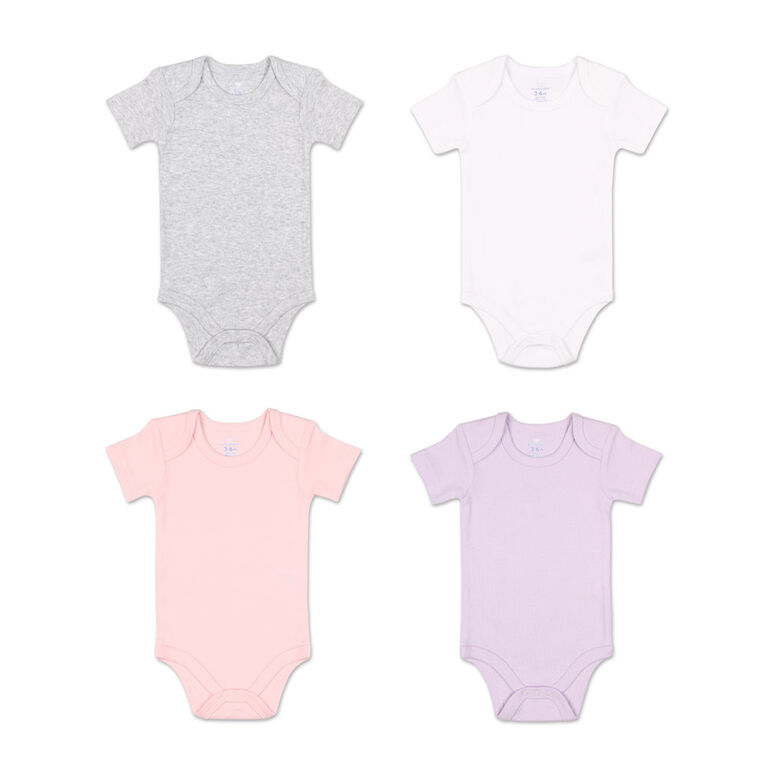 Koala Baby 4Pk Short Sleeved Solid Bodysuits, Pink/Lavender/Heather Grey/White, 9 Month