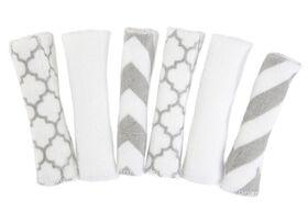 Kushies Débarbouillettes Paquet de 6 - gris/blanche.
