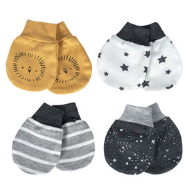 Just Born Baby Boys 4-Pack Organic Mittens - Lil Lion