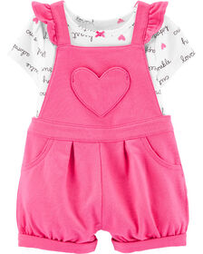 Carter's 2-Piece Slogan Tee & Heart Shortall Set - Pink/Ivory, 9 Months