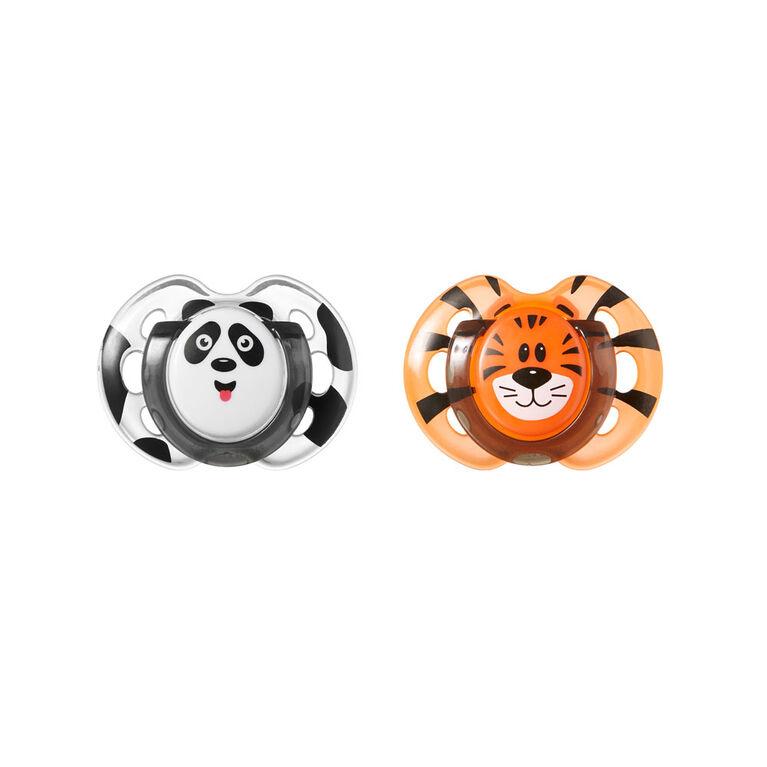 Sucette Fun Style 0à6mois de Tommee Tippee (paquet de2) - orange.